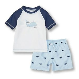 NWT Starting Out Baby Whale Swim Trunks & Shirt